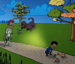 Plaat in het kinderboek 'De kleine Ace gaat wandelen'