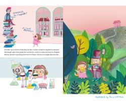 Spread voor het kinderboek Ada Lovelace and the number crunching machine. Materiaal: ecoline, gouache, Faber Castell Polychrome potloden