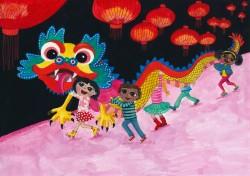 Vijf vrienden met verschillende culturele achtergronden beleven samen de feesten uit elkaars cultuur. Hier vieren ze het Chinese Nieuwjaar. Materiaal: gouache en Faber Polychrome potloden