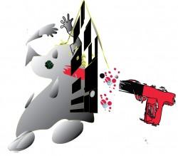 Spooky,gun,cartoon,red
