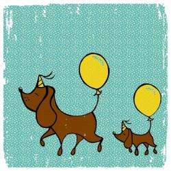 twee hondjes twee ballonnen