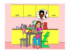 mama in de keuken