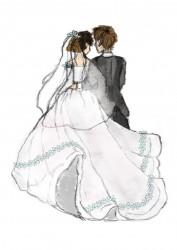 Bruidspaar digitaal getekend