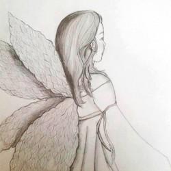 Engel met potlood getekend