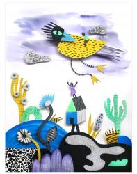 Vogel, papercut illustratie