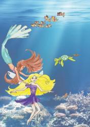 Onder water meermin en elf