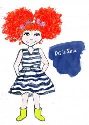tekening, kinderboek, meisje, rood haar, krullen