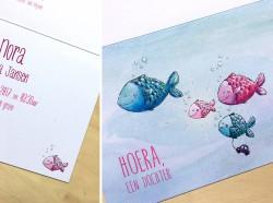 Illustratie voor een geboortekaartje op maat 105x148mm aquarel en kleurpotlood