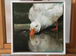 Schilderij van een witte eend, gemaakt met paletmes 300x300mm olieverf