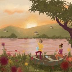 Picknick bij zonsondergang