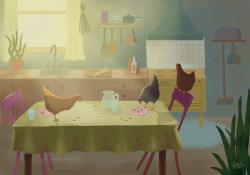 Kruimels op de keukentafel