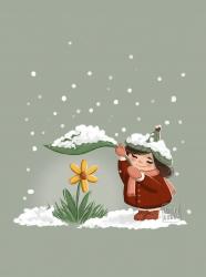 Bloemen Elfje Vrolijk Sneeuw Winter Lente