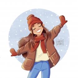 Sneeuw Winter meisje vrolijk