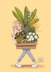 Planten Meisje Vrolijk