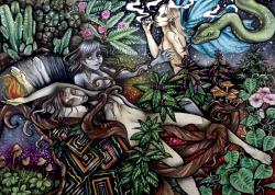 Gemaakt in opdracht/plantmedicijn/psychedelisch/ waterverf schilderij