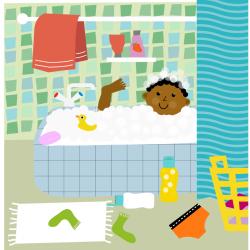 badkamer, animatie, educatieve illustraties,  illustratie,  schoon en fris, woordplaat,
