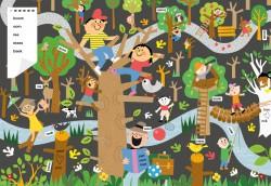 klimbos, illustrator, kinderboeken illustrator, zoekboek, kijkplaat, zoekplaat, praatplaat, bos, bomen, kinderboeken illustraties, dutch illustrations, sport illustraties, klimmen,
