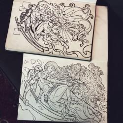 Een oude tekening van mezelf (boven) opnieuw getekend - potlood en fineliners