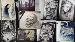 Verschillende tekeningen op A5 voor InkTober enkele jaren terug - Pen, Inkt, Copic Markers