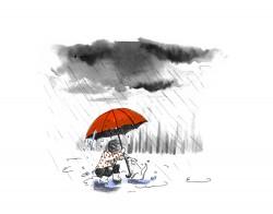 kinderboekillustratie meisje hondje regen rood