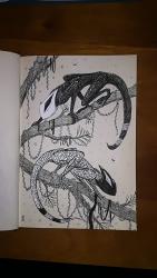 met zwarte en witte pen getekend, fictieve reptielen geïnspireerd door