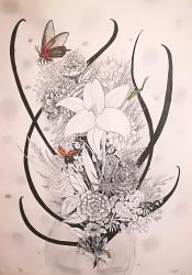 Geïnspireerd van letterlijk genomen tekst uit een lied, de insecten zijn met aquarel potloden gekleurd. De rest is met zwarte pen getekend.