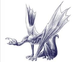 Digitaal een schets-achtige stijl aangehouden. Een draak die geïnspireerd is door de gier.