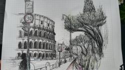 Het Colosseum in Rome, op locatie nagetekend met pen en licht gekleurd met kleurpotlood.