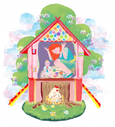 moeder kind kip illustratie eiren feest
