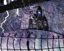 storm nacht kinderen illustratie