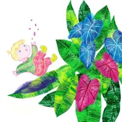 kind jongen plant bloom illustratie