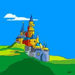 illustratie, kasteel, kleurijk, sprookje