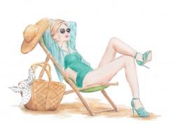 mode illustratie zonnen op het strand