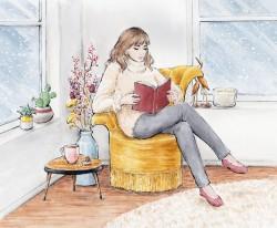 Illustratie meisje met boek