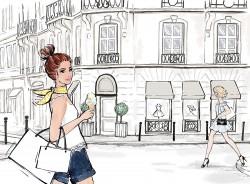 Winkelen in Parijs - mode illustratie