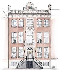 Het Waldorf Astoria Hotel - illustratie met aquarelverf - grachtenpand Amsterdam