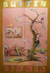 schildering op 2 panelen, buiten - binnen