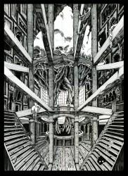 Print uit een serie van gebouwen/ structuren die verlaten zijn door de mens