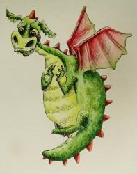 fantasie verhaal over een onhandig draakje.