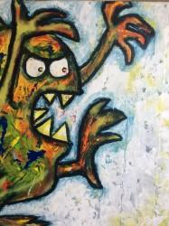 woest en groot, met acryl en graffiti