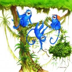 De blauwe brulapen gaan naar school