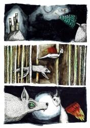 Wolf en engel, inkt+ Aquarell